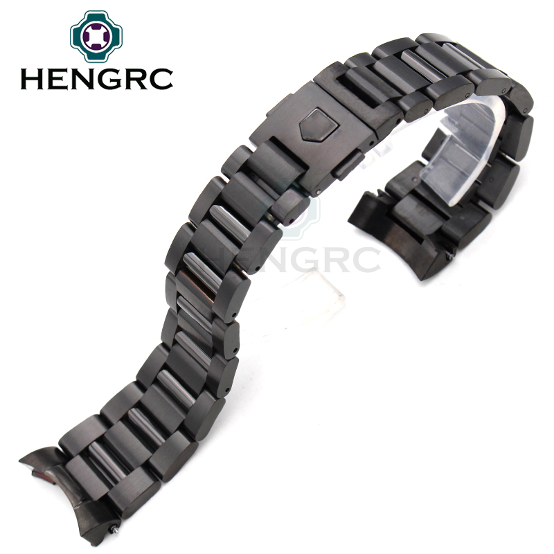 HENGRC 22mm Stainless Steel Watch Band Strap Silver Mens Luxury Replacement Curved End Metal Watchband Bracelet Accessories new arrival solid stainless steel watchband 22mm 24mm luxury fine steel watch strap for mens