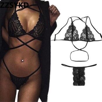 bff4a19fa9 ZZSYKD lencería Sexy mujer camisón de encaje negro con cuello en V camisón  ropa de dormir profunda por noche camisa camisón