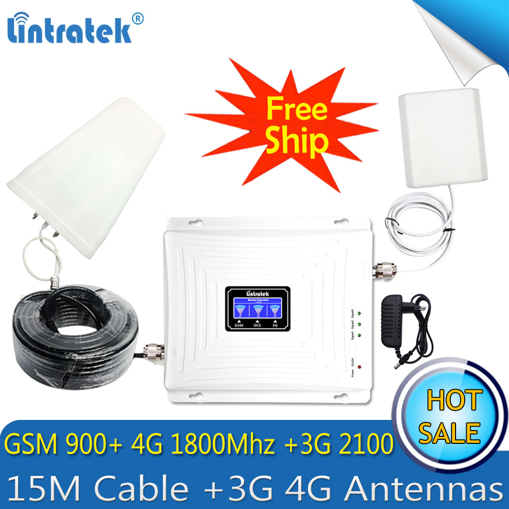Russia 2G 3G 4G Tri Band LTE Cellular Repeater 900 1800 2100 GSM WCDMA DCS LTE 4G Cell Phone Signal Booster LTE 4g Amplifier