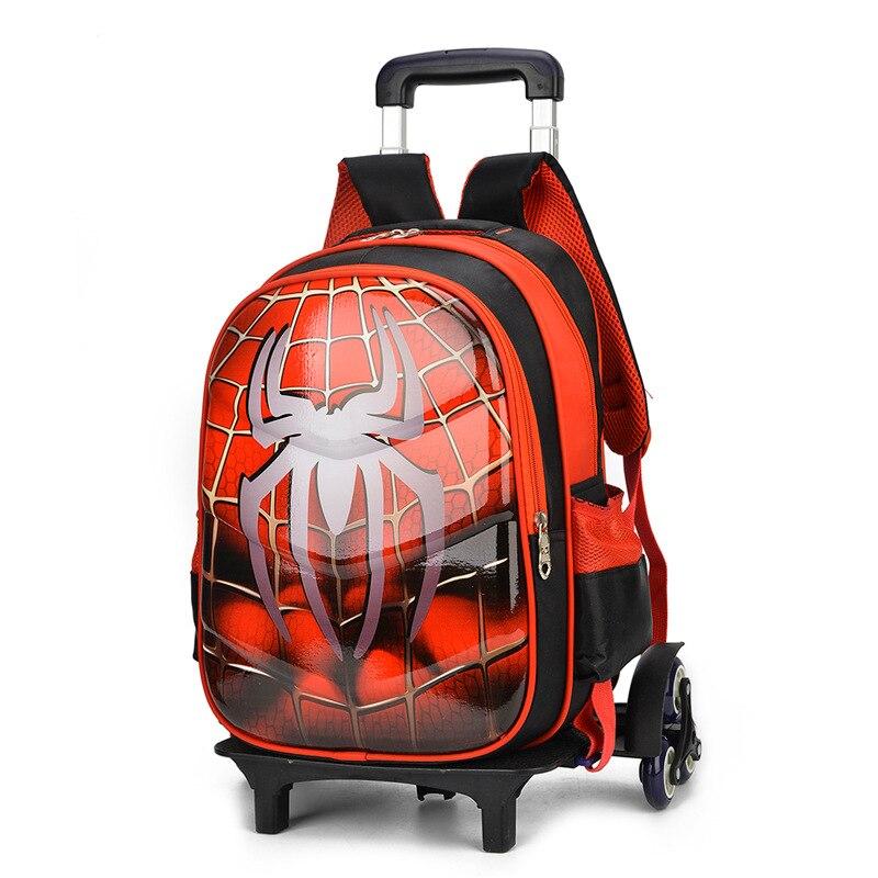 Spiderman 3D Anime voyage bagages 20-35L étudiants sac d'école monter escaliers valise enfants dessin animé sac à dos garçon papeterie sac