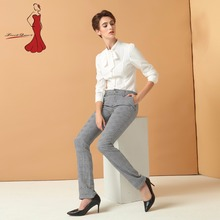 Фотография Office Ladies Pencil Pants British Lattice Printing Women