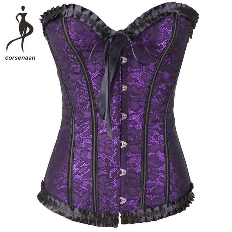 Lavender Overbust Korset Slimming Body Shaper Daily Wear Costumes Outfit Ruffled Lace Up Boned   Corset     Bustier   898#