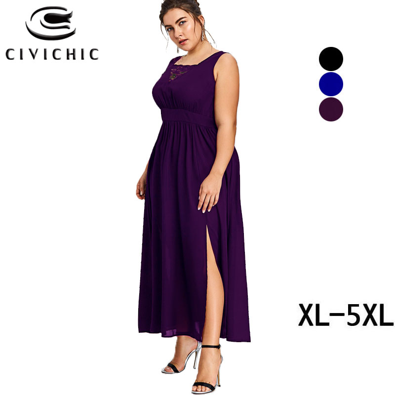 CIVI CHIC Plus Size Elegant Long Robe Sexy Lace Stitched V Neck Zomer Jurk Side Slit Summer Maxi Dress Women Tank Vestidos DRS96