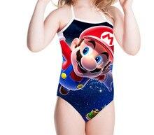 THIKIN Cute Super Mario Printed Games Children Swimsuit for Girls Swimming Baby Swim Suit One Piece Kids Swimwear Bathing Suits цена