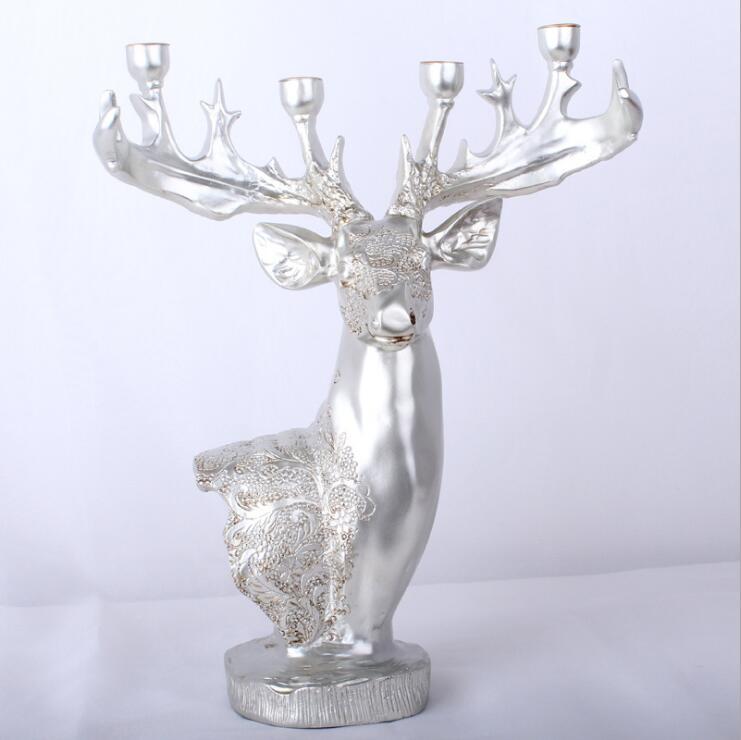 Résine cerf Table artisanat Statue bijoux accessoires bougeoir 4 bras bougeoir de mariage chandelier candélabre - 5