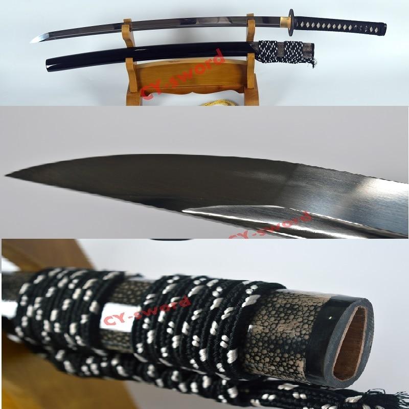Käsitsi sepistatud lahinguvalmis karastatud 1095 süsinikterasest jaapani katana mõõk raud tsuba hai nahk saya