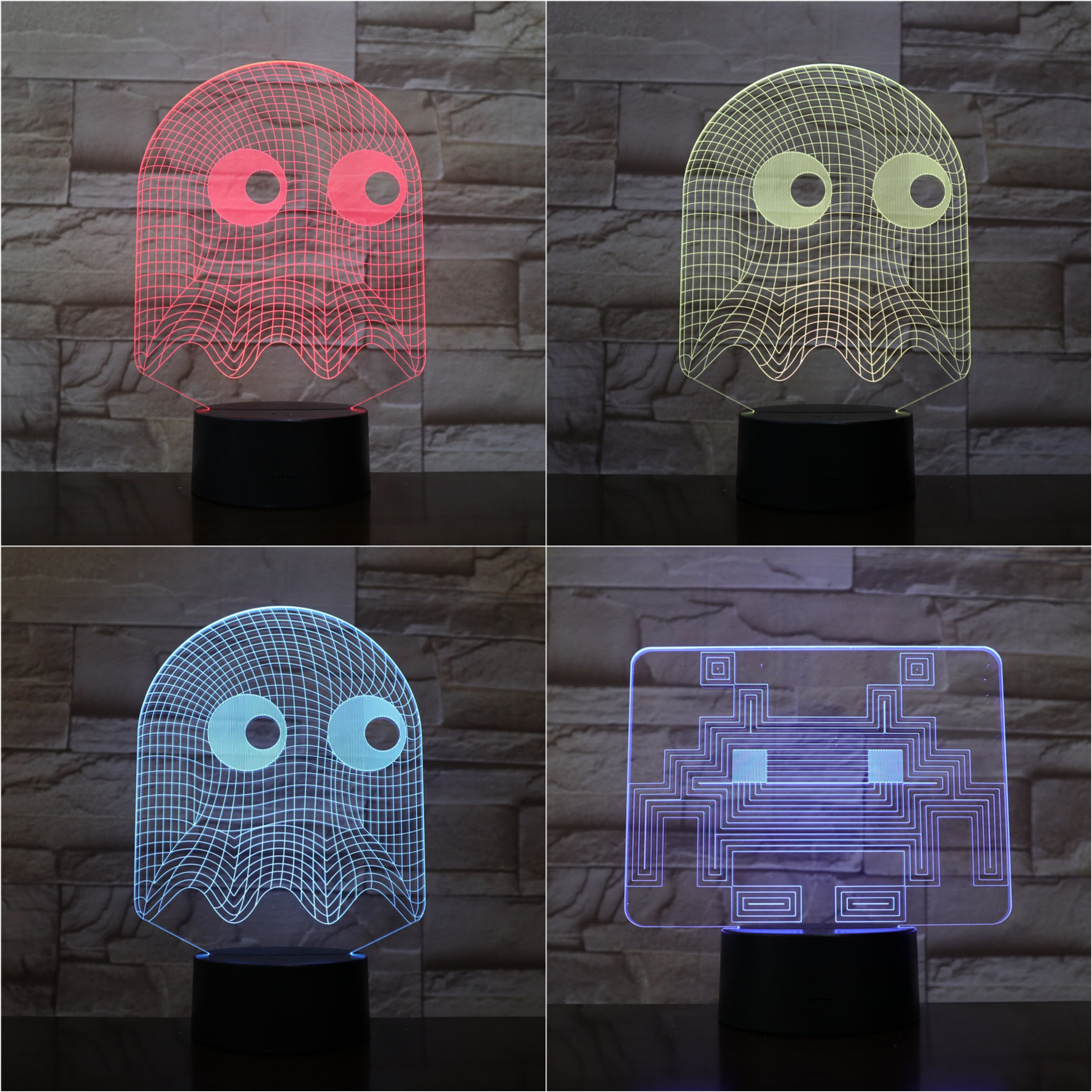 Game PAC MAN Night Light LED 3D Bedroom Decorative Lamp Illusion Child Kids Baby Kit Blinky Inky Clyde Ghost PAC MAN Lamp TableGame PAC MAN Night Light LED 3D Bedroom Decorative Lamp Illusion Child Kids Baby Kit Blinky Inky Clyde Ghost PAC MAN Lamp Table