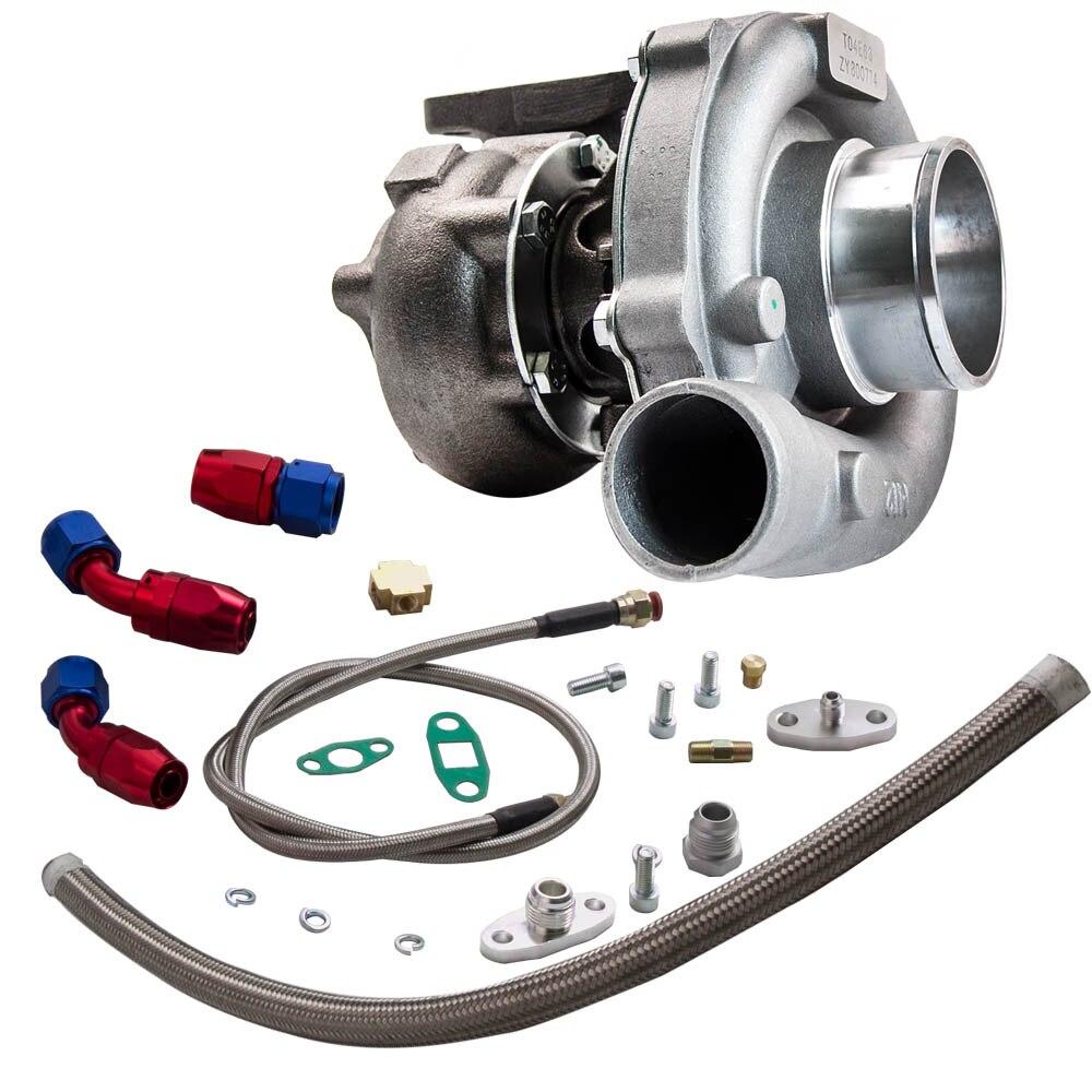 T3/t4 t04e. 57 a/r desempenho turbocompressor + óleo feed & retorno linha kit 300 + hp óleo de refrigeração turbo para 1.6 2.5l wastegate interno - 4
