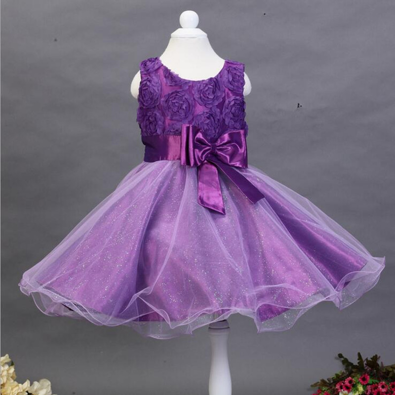 0-12Y Girls Dresses Summer 2016 Fashion Sleeveless 3D flower Kids Dresses for Girls Clothes Birthday Party Dress vestido 7colors