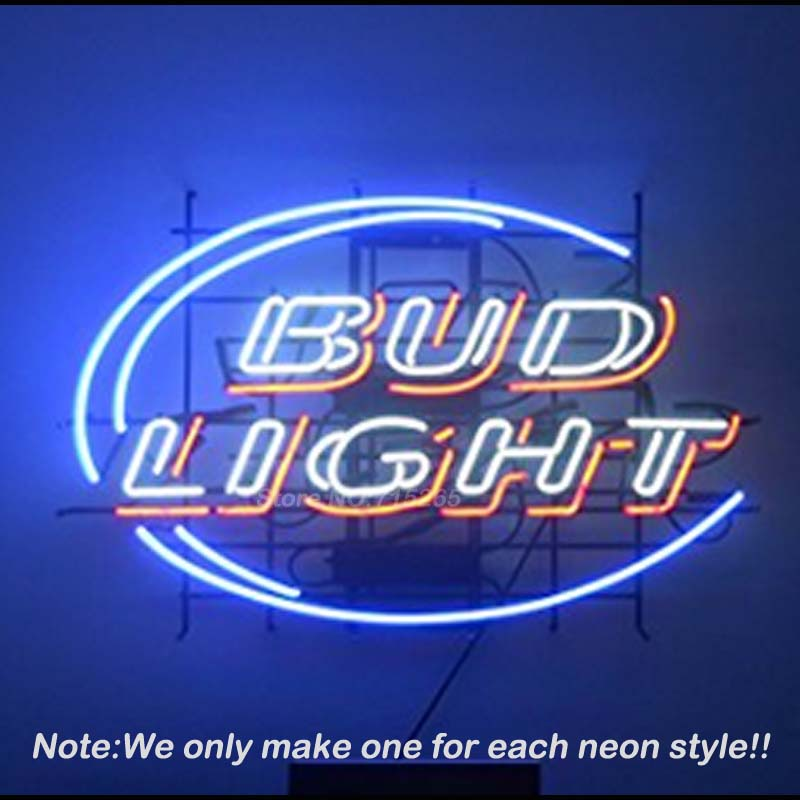 Bud <font><b>light</b></font> Neon Sign Neon Bulbs Recreation Room Garage Art Neon Signs Glass Tube Handcraft Best Gifts Display Custom VD 17x14
