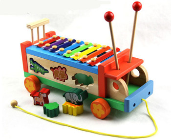 Nowe drewniane zabawki zwierzęta ciągniki fortepian zwierząt pojazd instrument zabawka dla dziecka darmowa wysyłka tanie i dobre opinie Drewna 3 lat 30X14X12cm Unisex Waring Doping kij Color Box wood