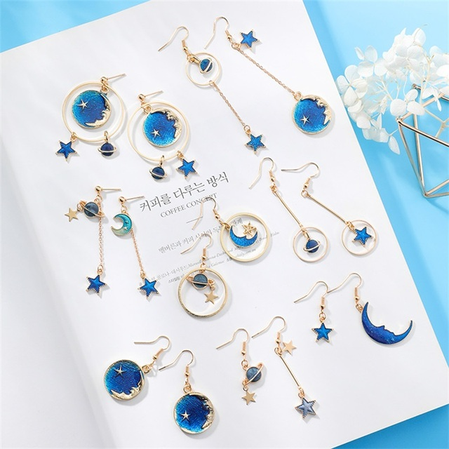 Japanese and korean blue stars moon planet long asymmetric earrings fashion geometryic round ear clip for women jewelry gifts