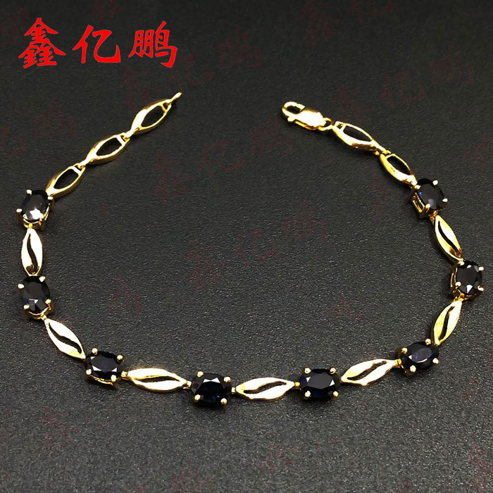 18 k gold inlaid natural sapphire Hand catenary 5.1 carats