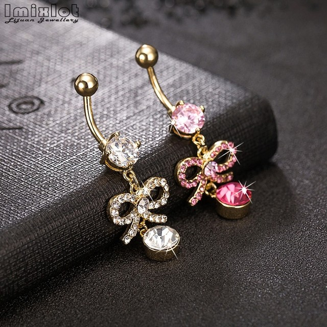 Imixlot New Fashion Sexy Piercing Navel Nail Body Jewelry Flower Pendant Crystal Belly Button Rings P0159 J B In Body Jewelry From Jewelry
