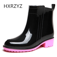 Winter Fashion Adult Rain Boots Female Simple Candy Color Rain Shoes Women Anti Skid Low