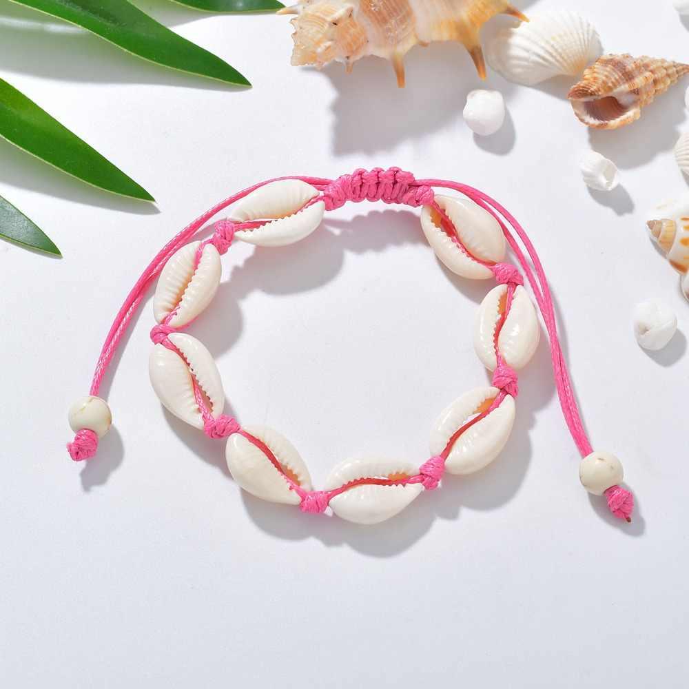 ファッション女性のボヘミアンシェルブレスレット手作りブレスレット純粋な天然シェル夏のビーチ休暇足女性ガール