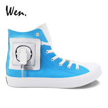 Wen Original Vulcanize Shoes Design Charge Brain Special Hand Painted Canvas Shoes High to Help Sneakers Unisex Espadrilles Flat