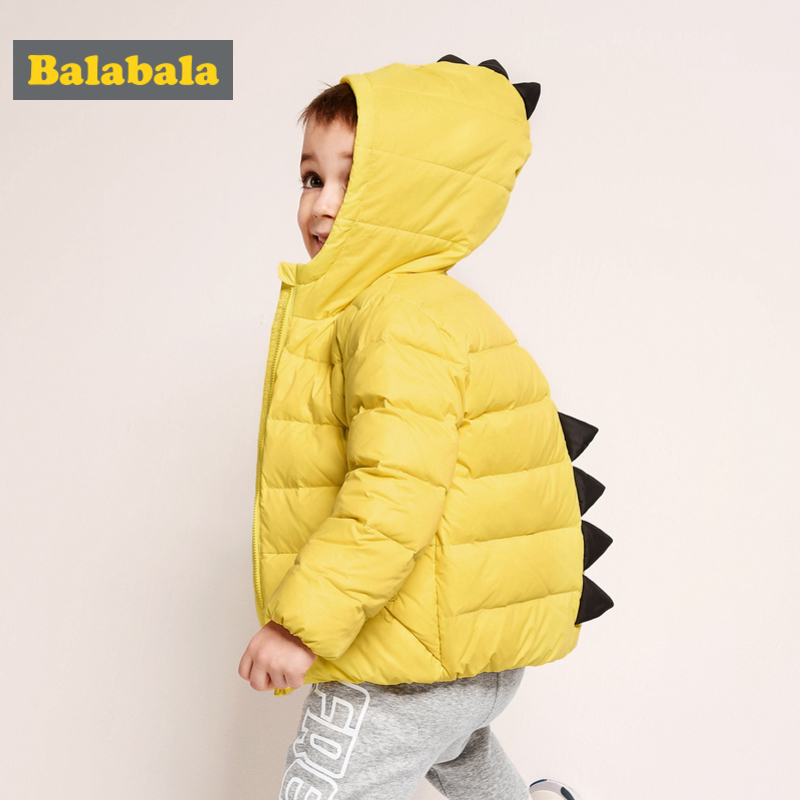 Balabala Toddler Boy 3D Dinosaur Quilted Lighweight Down Jacket Children Kid Hooded Puffer Jacket with Full Zip in Chinlon Lined exhaust tips on jaguar xe