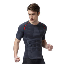 HW2016 NEW arrival  MA06 Men Sports Fitness Gym Compression Short Sleeve O-Neck Tight T Shirts Fast Drying Base Layer Tops M-XL