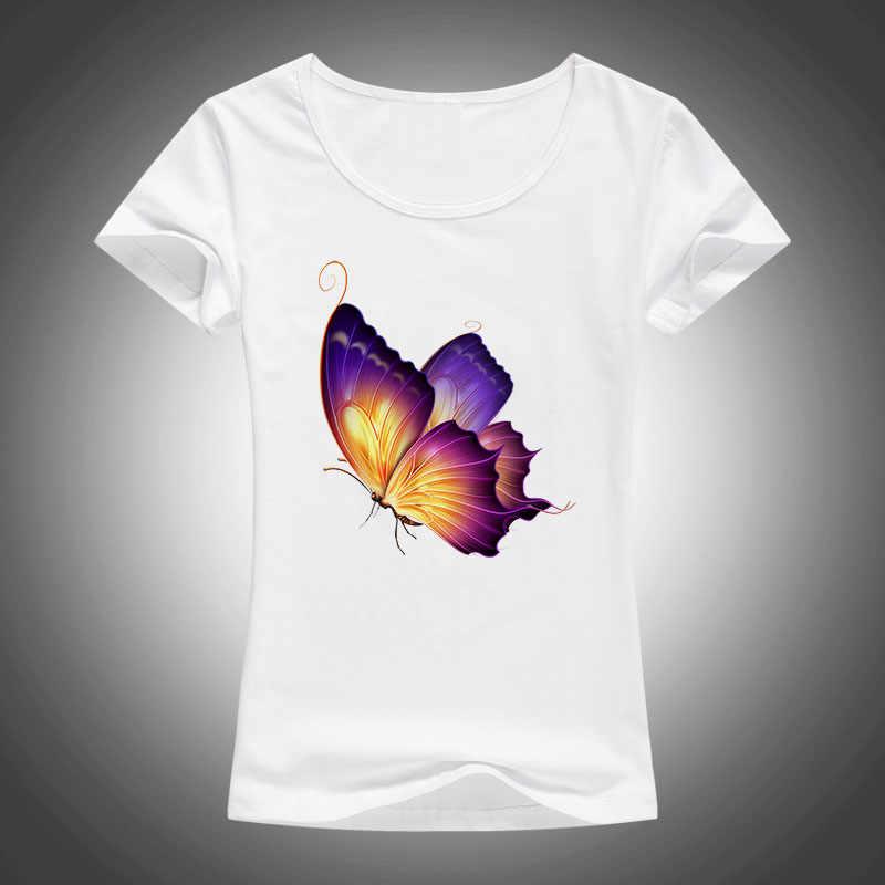 e1d8102f1b28b Мода Kawaii с принтом бабочки футболка красивые женские 3D летом прохладно  рубашка Хорошее качество хлопчатобумажные топы