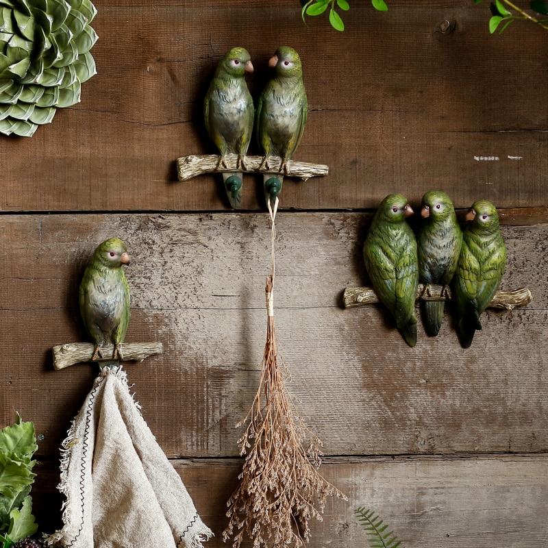 Anvers vert perroquet oiseau crochet décoration murale créative Aloe Vera plante porte crochet salon mur décoration