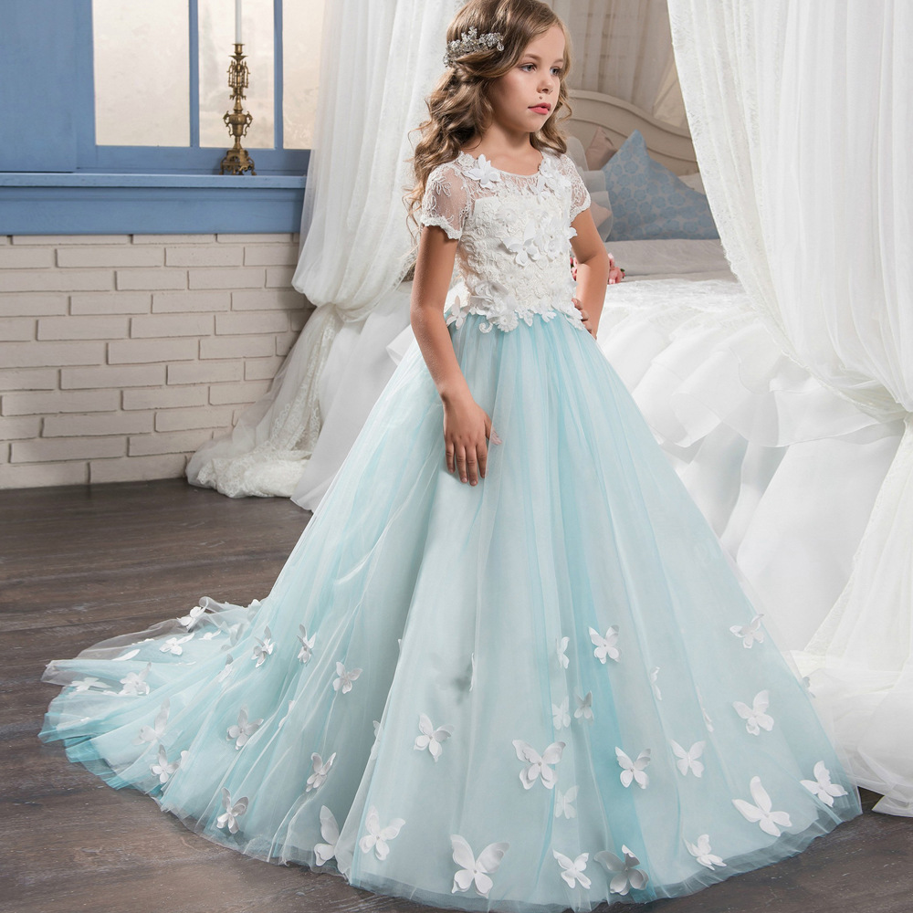 New short sleeved lace   flower   wedding   dress   performance ball   Girl   Butterfly applique decorative long tug dinner   dress