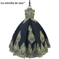 Платья для конкурсов красоты для girls2018, Новое кружевное платье с высоким воротником, пышная юбка золотистый и черный Платья для младенцев кр