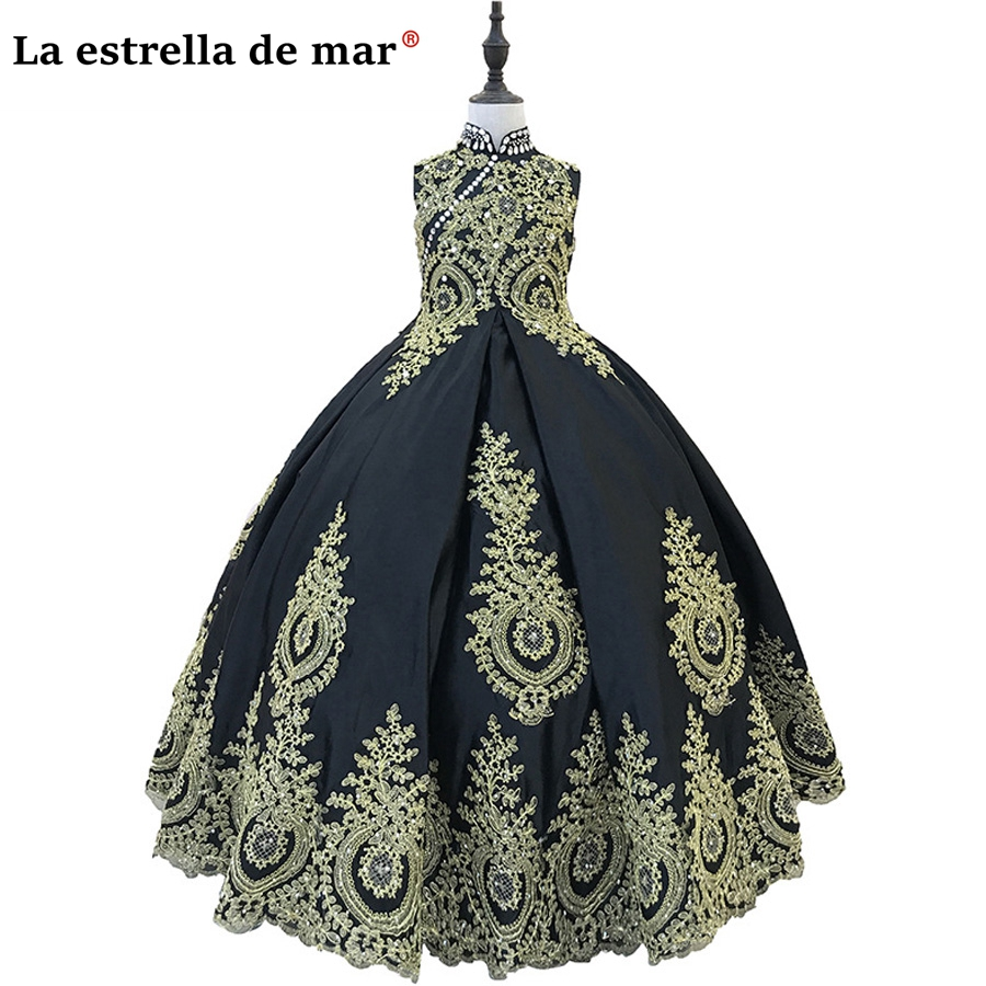 Pageant   dresses   for girls2018 new lace high collar fluffy gold black   flower     girl     dress   pretty primera comunion custom made