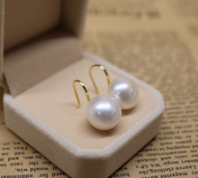 Eternal wedding Women Gift word 925 Sterling silver real 13-14MM freshwater pearl ear hook 925 pure  and silver light pearl earr 925 pure silver christmas bells silver pendants