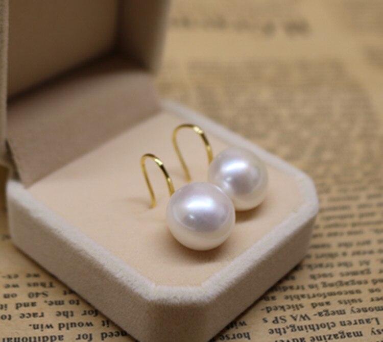 Mariage éternel femmes cadeau mot 925 argent Sterling réel 13-14 MM perle d'eau douce oreille crochet 925 pur et argent lumière perle earr