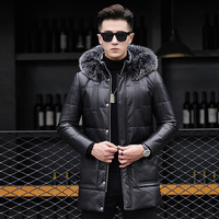 AYUNSUE Men's Genuine Leather Down Jacket Long Winter Sheepskin Coat Fox Fur Collar Real Leather Jacket Men 81X17317 KJ2427