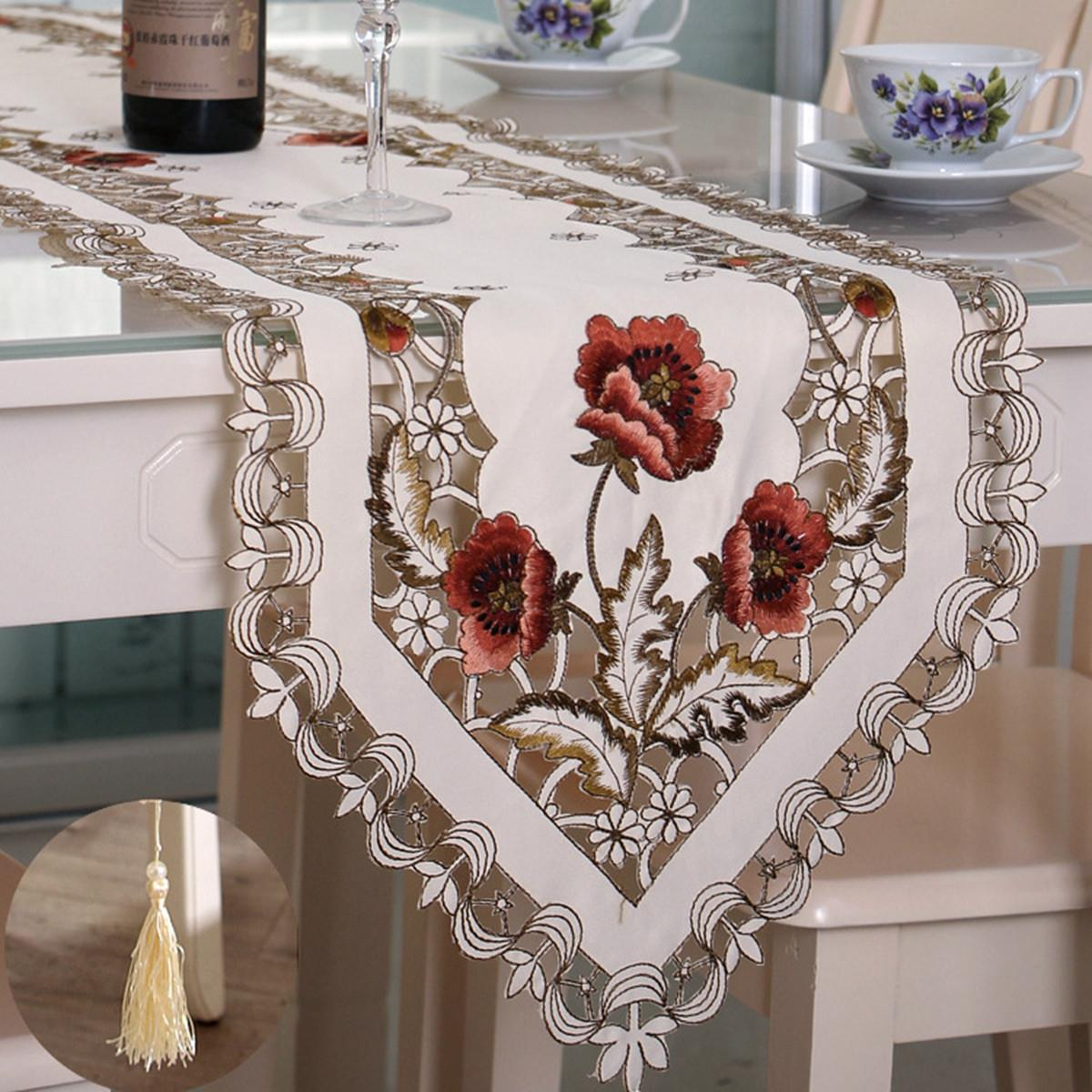 Elegant Polyester Embroidery Table Runner Handmade Embroidered Flower  Floral Cutwork Simple Home Table Cloth Covers Runners