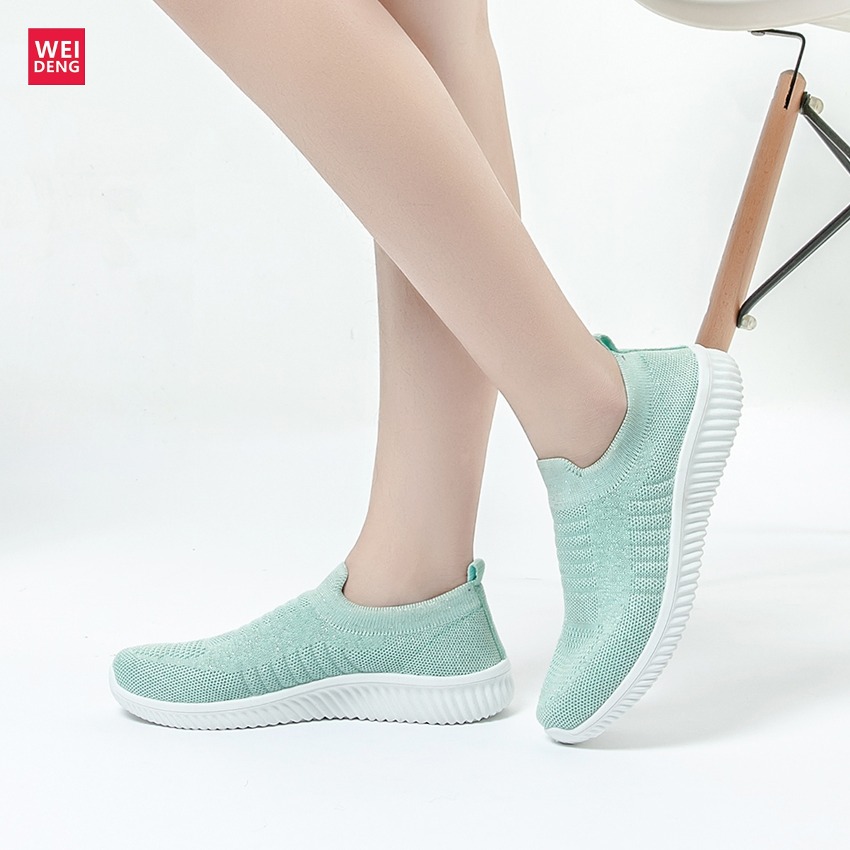 Weideng Knit Sock Shoe Air Mesh Loafers Ultra Soft Slip on Women Flat Fly Prime Knitted Breathable Tenis Unisex Fashion Footwear(China)