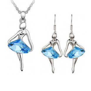 Wholesale Fashion Jewelry / Austria crystal blue fantasy ballet girl Angel Earrings and necklace set -041