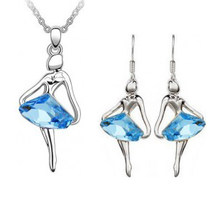 Wholesale Fashion Jewelry / Austria crystal blue fantasy ballet girl Angel Earrings and necklace set -041(China)