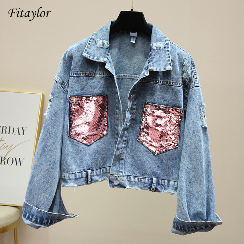 Fitaylor New Women Hole Jeans   Jacket   Ladies Sequin Spliced Jean Coat Spring Autumn Women   Basic     Jacket