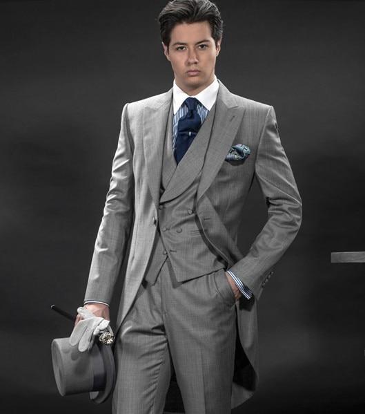 Free shipping 2013 Custom Made 100% Gray wool Morning suit /wedding ...