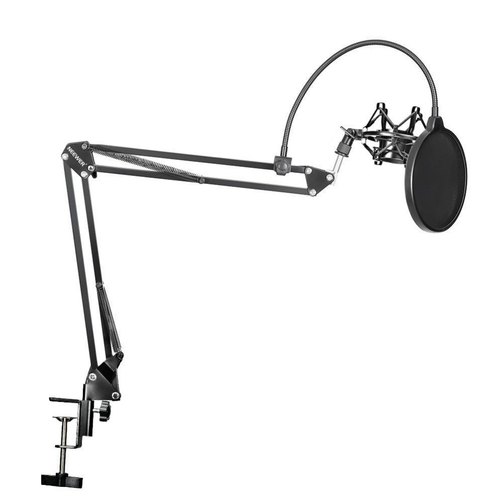 Neewer NB-35 Microphone Scissor Arm Stand Mic Clip Holder and Table Mounting Clamp&NW Filter Windscreen Shield & Metal Mount Kit neewer usb condenser microphone and nw 35 pro desktop mic stand kit nw 3u cardioid mic pro nw 35 mic suspension boom arm stand