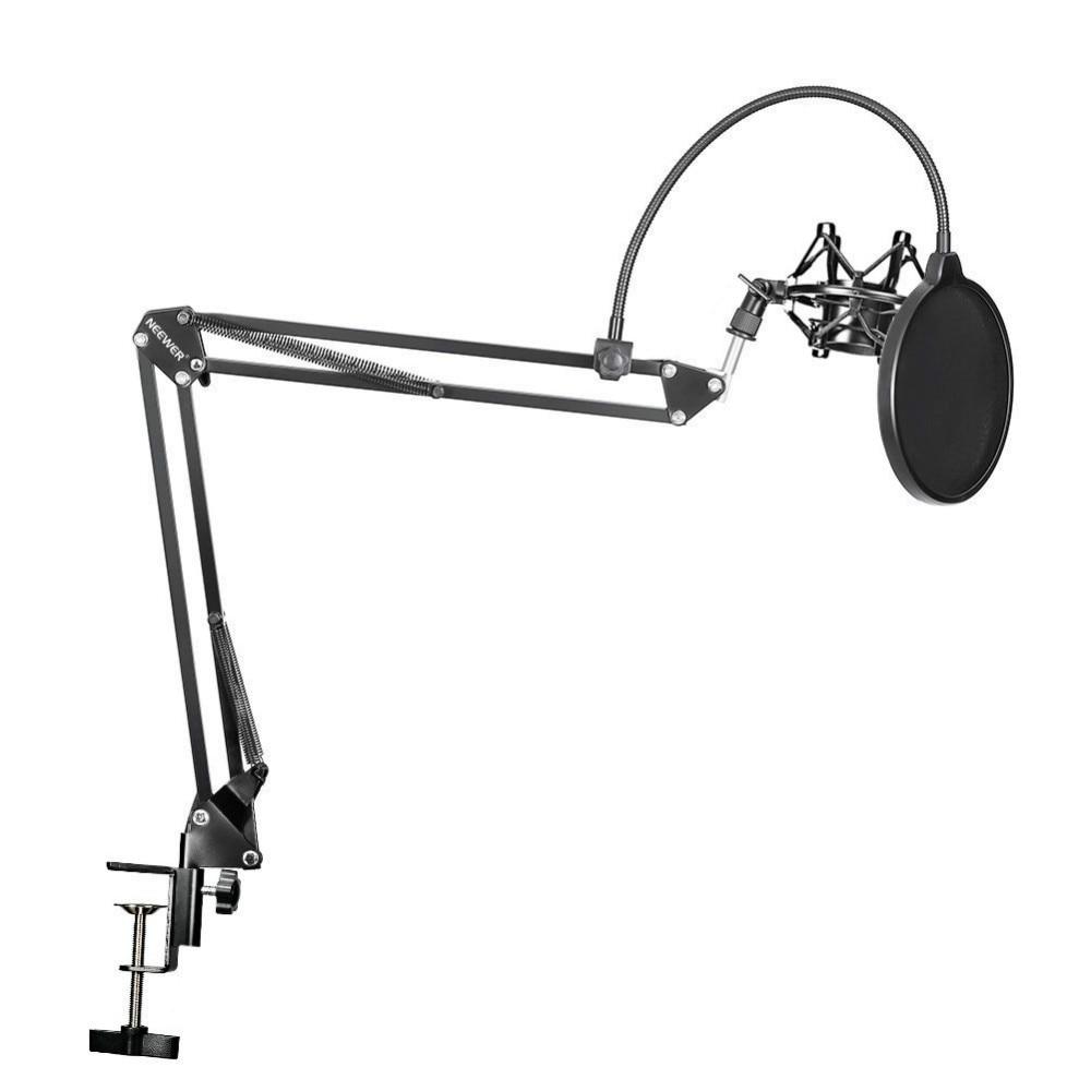 Neewer NB-Microfono Scissor Braccio Del Supporto Mic Holder Clip e Morsetto Da Tavolo & NW Filtro Parabrezza Shield & Metallo Kit di montaggio
