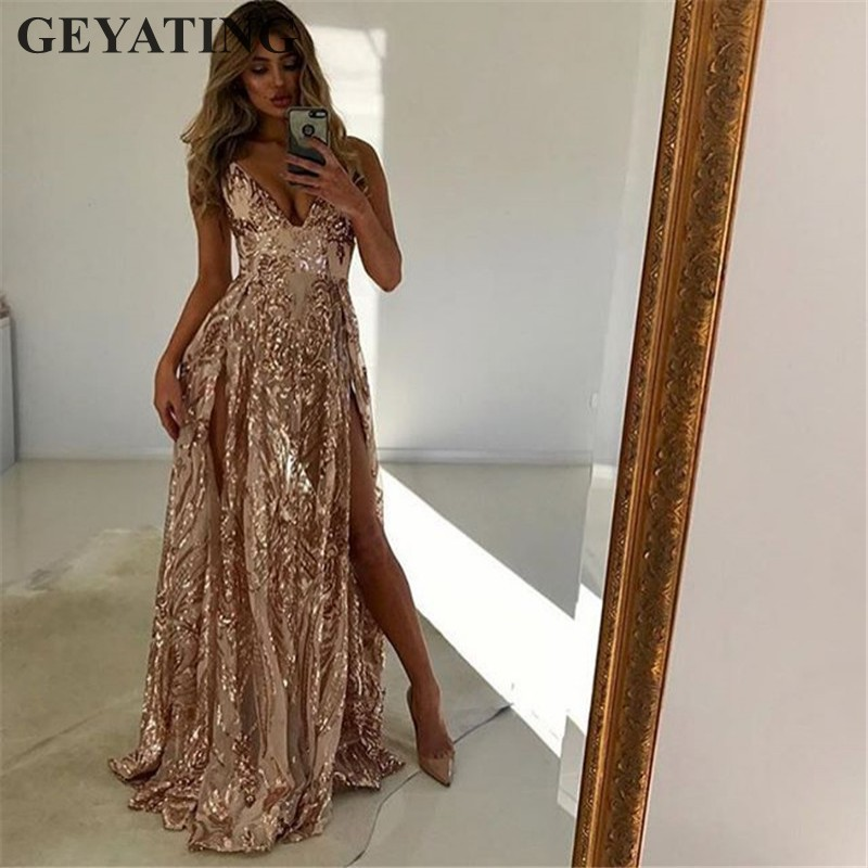 Sexy V-Neck High Slits Backless   Prom     Dresses   2018 Long Spaghetti Straps Rose Gold Sequined Evening Gowns Maxi Formal Party   Dress