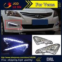 Free Shipping 12V 6000k LED DRL Daytime Running Light For Hyundai Verna 2014 Fog Lamp Frame