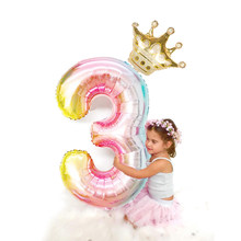 2 teile/satz 32 Anzahl regenbogen Folie Luftballons mit gold crown einhorn partei folien ballon Kinder Geburtstag Party jahrestag Crown Decor(China)