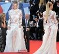 Мода венецианском кинофестивале красный ковер платье высокое длинным рукавом кружева аппликация перо знаменитости вечернее платье XY501