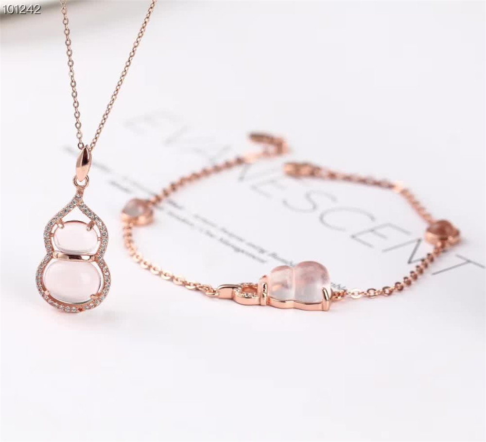 wholesale fashionable elegant ladies rose gold 925 sterling silver natural pink crystal necklace pendant bracelet jewelry set wholesale fashionable elegant ladies rose gold 925 sterling silver natural pink crystal necklace pendant bracelet jewelry set