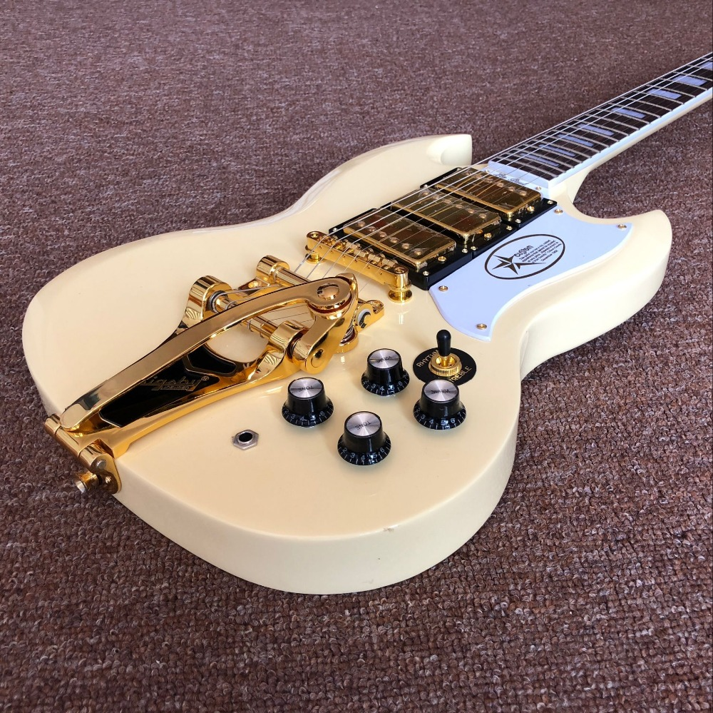 China Custom shop , s g Jazz electric guitar,3 pickups and Gold hardware gitaar,cream color guitarra,vibrato system