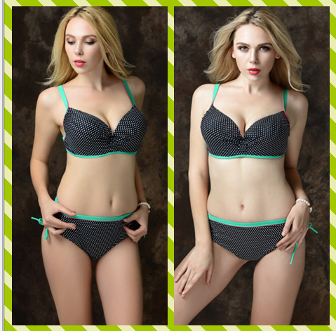 Simple and comfortable retro wave point sexy M xxxl size swimsuit padded stitching women sbikini two
