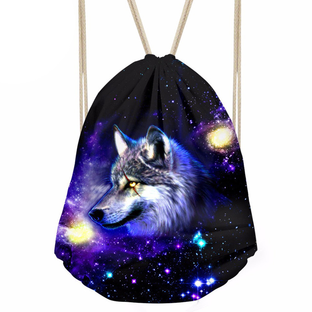 Men's 3D Galaxy Animal Wolf Printing Drawstring Bag Kids Casual Daypack for  Teenager Small Backpack Mochila Flamingo