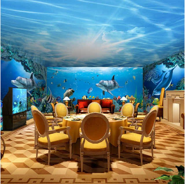 Seamless 3D Stereoscopic Large Mural Wallpaper Underwater World Marine Fish Living Room Childrens TV Background