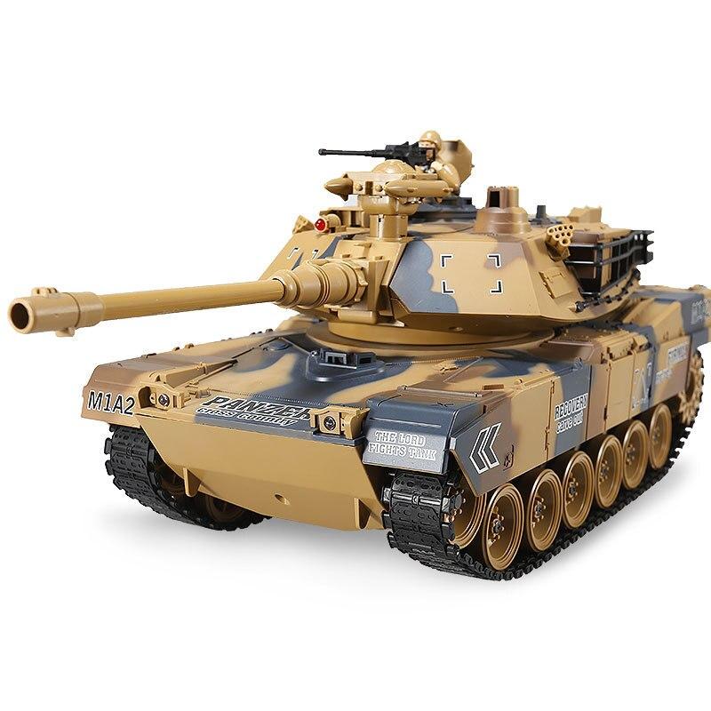 Télécommande réservoir 2.4G vibration fumée frappé balle bataille réservoir 1:18 électrique charge jouet voiture modèle militaire tout-terrain jouet