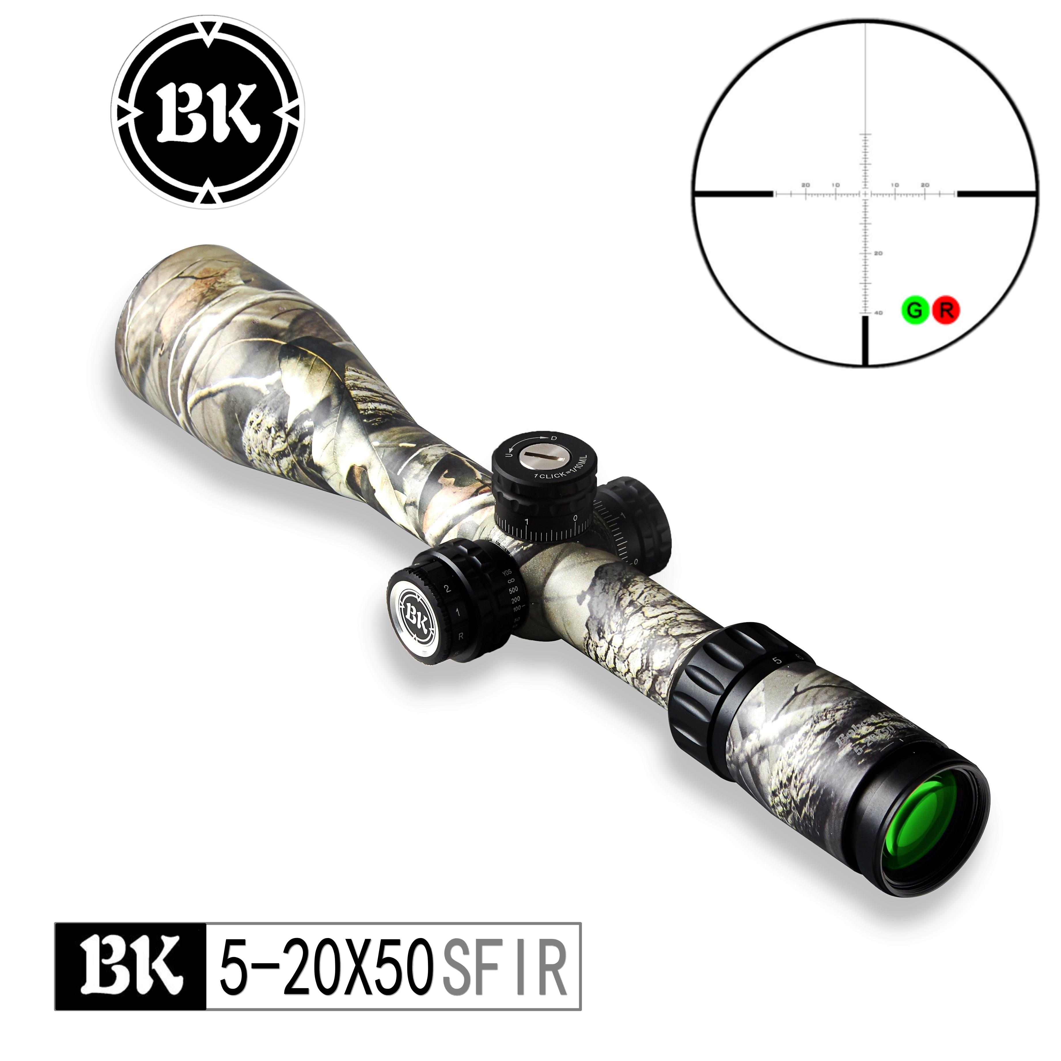 Bobcat King Optics BK 5 20X50 SFIR Камуфляжный внешний вид, тактический оптический прицел, снайперская охотничья винтовка, прицел для пневматического руж